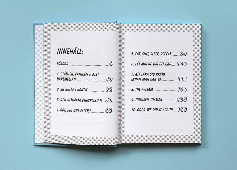 """Uppslag med innehållsförteckning i boken """"Den ultimata föräldraguiden"""""""