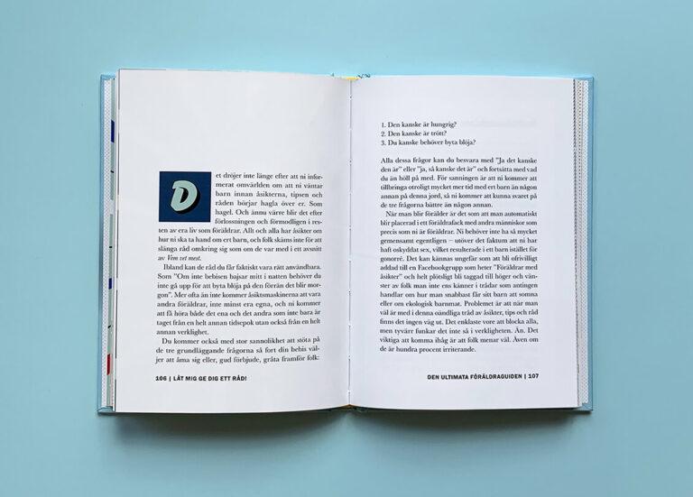 Uppslag med text i boken Den ultimata föräldraguiden