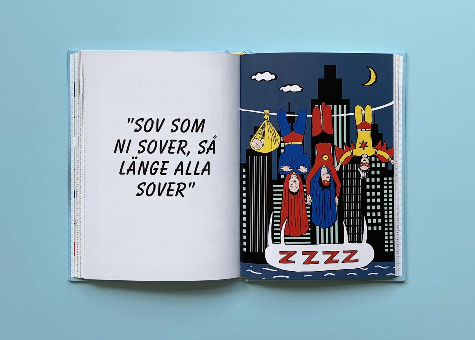 """Uppslag med illustration av Susanne Fredelius i boken """"Den ultimata föräldraguiden"""""""
