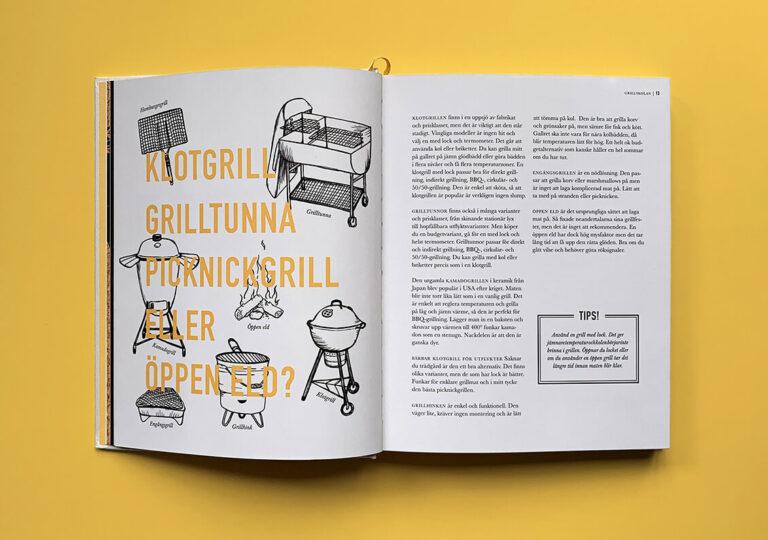 """Uppslag med text ur kapitlet """"Grillskolan"""" i boken """"Alla älskar grillat"""" av Christian Hellberg"""