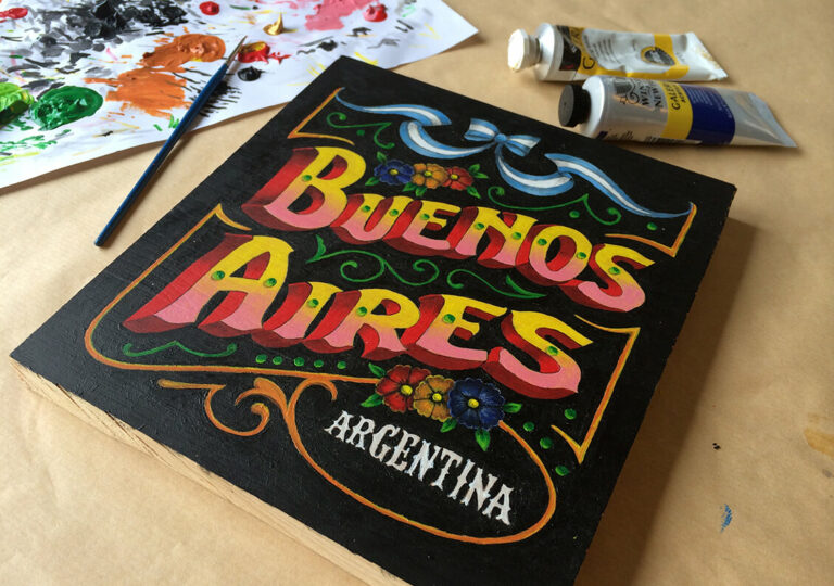 """Handmålad typografi till kapitelstartsida om Buenos Aires i boken """"Alla älskar grillat"""" av Christian Hellberg"""