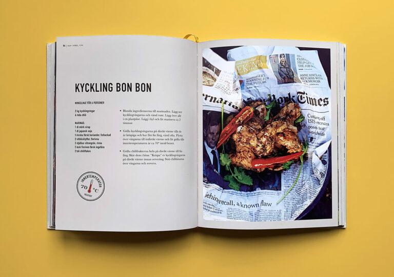 """Uppslag med recept på kyckling bon bon i boken """"Alla älskar grillat"""" av Christian Hellberg"""