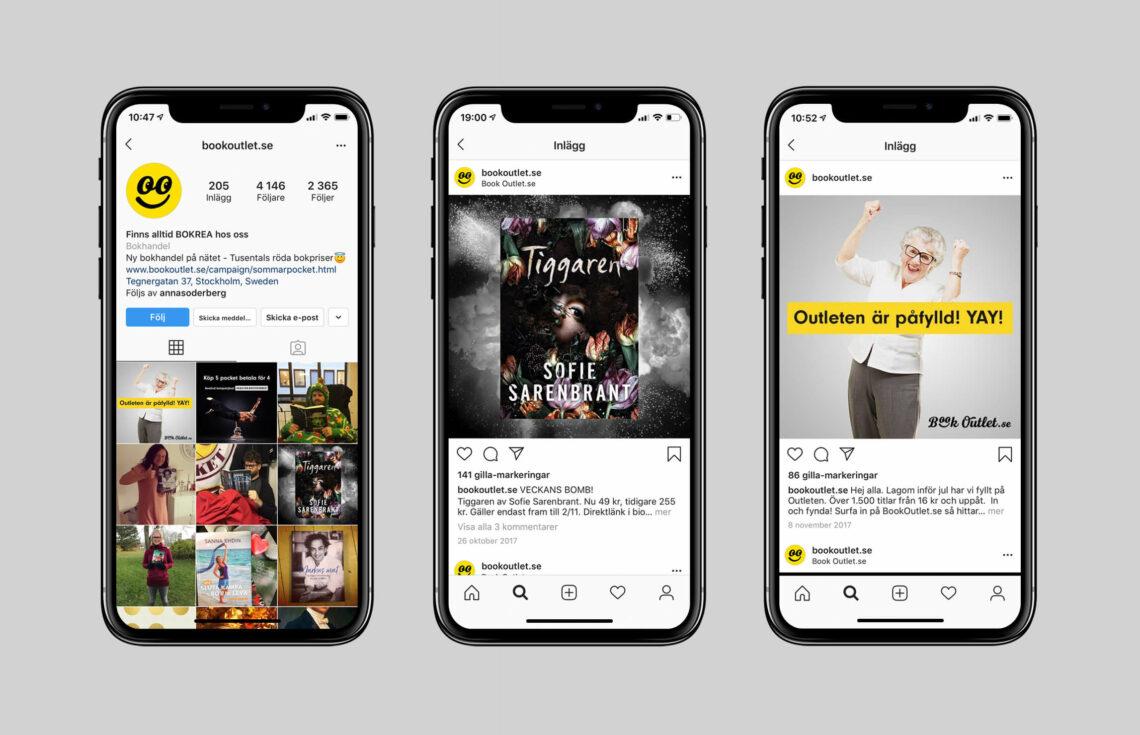 Tre mobilskärmar med Book Outlet på Instagram