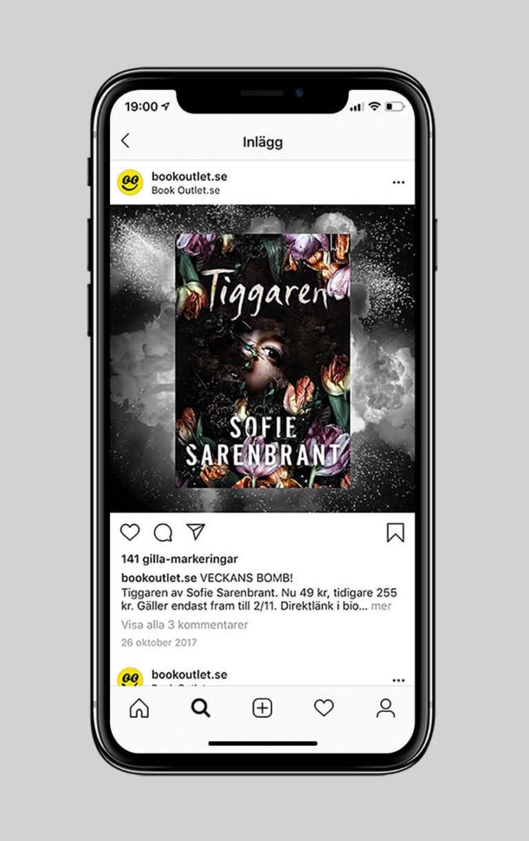 """En mobilskärm med annons för boken """"Tiggaren"""" på Book Outlets Instagram"""