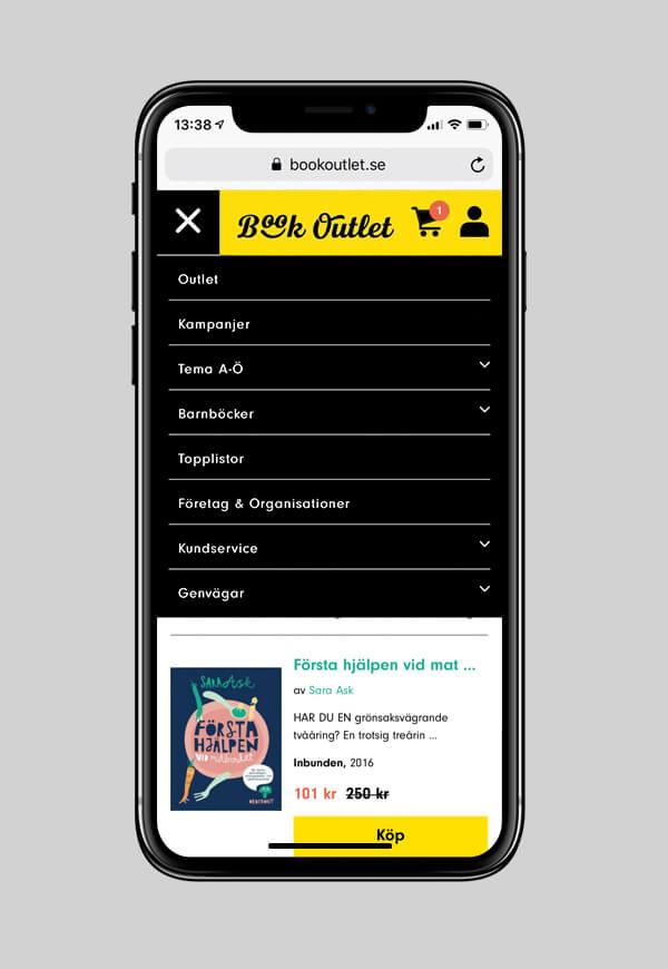 En mobilskärm med meny på Book Outlets hemsida