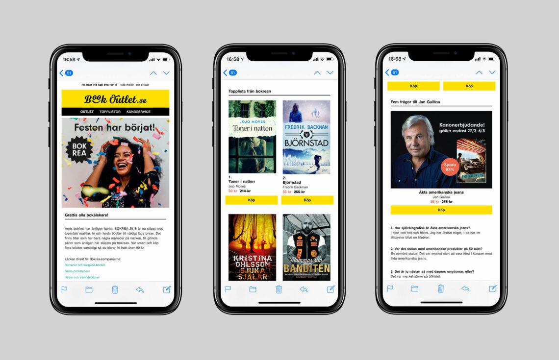 Tre mobilskärmar med Book Outlets nyhetsbrev