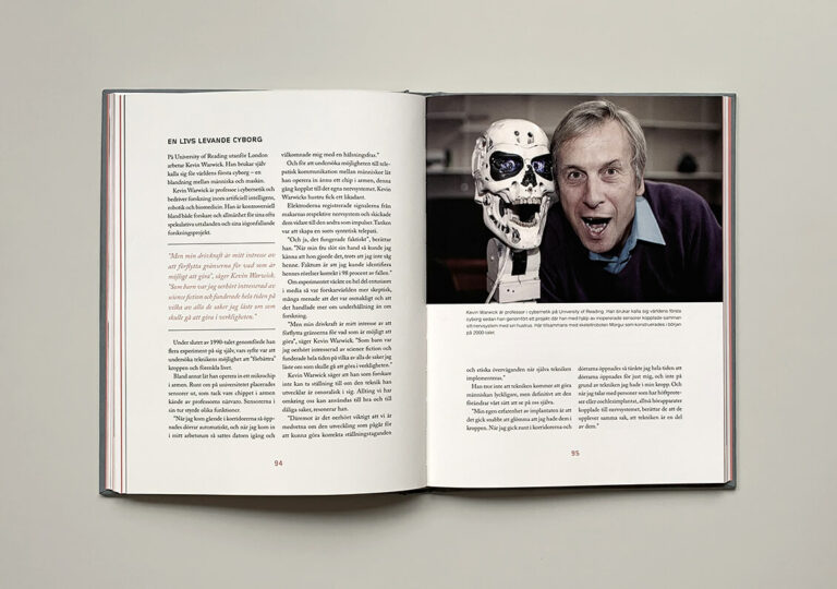 """Uppslag med bild på Kevin Warwick i boken """"Du sköna nya människa"""""""
