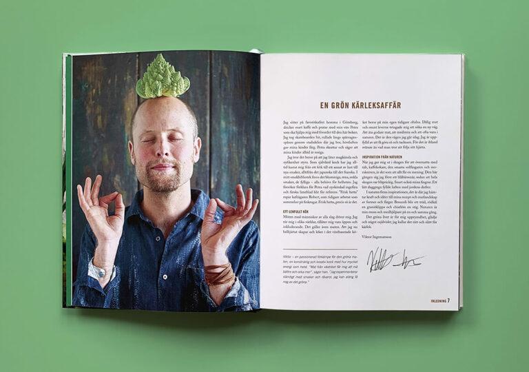 """Uppslag med förord till boken """"En grön kärleksaffär"""""""
