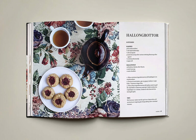 "Uppslag med recept på hallongrottor i boken ""Green sweets and treats"""