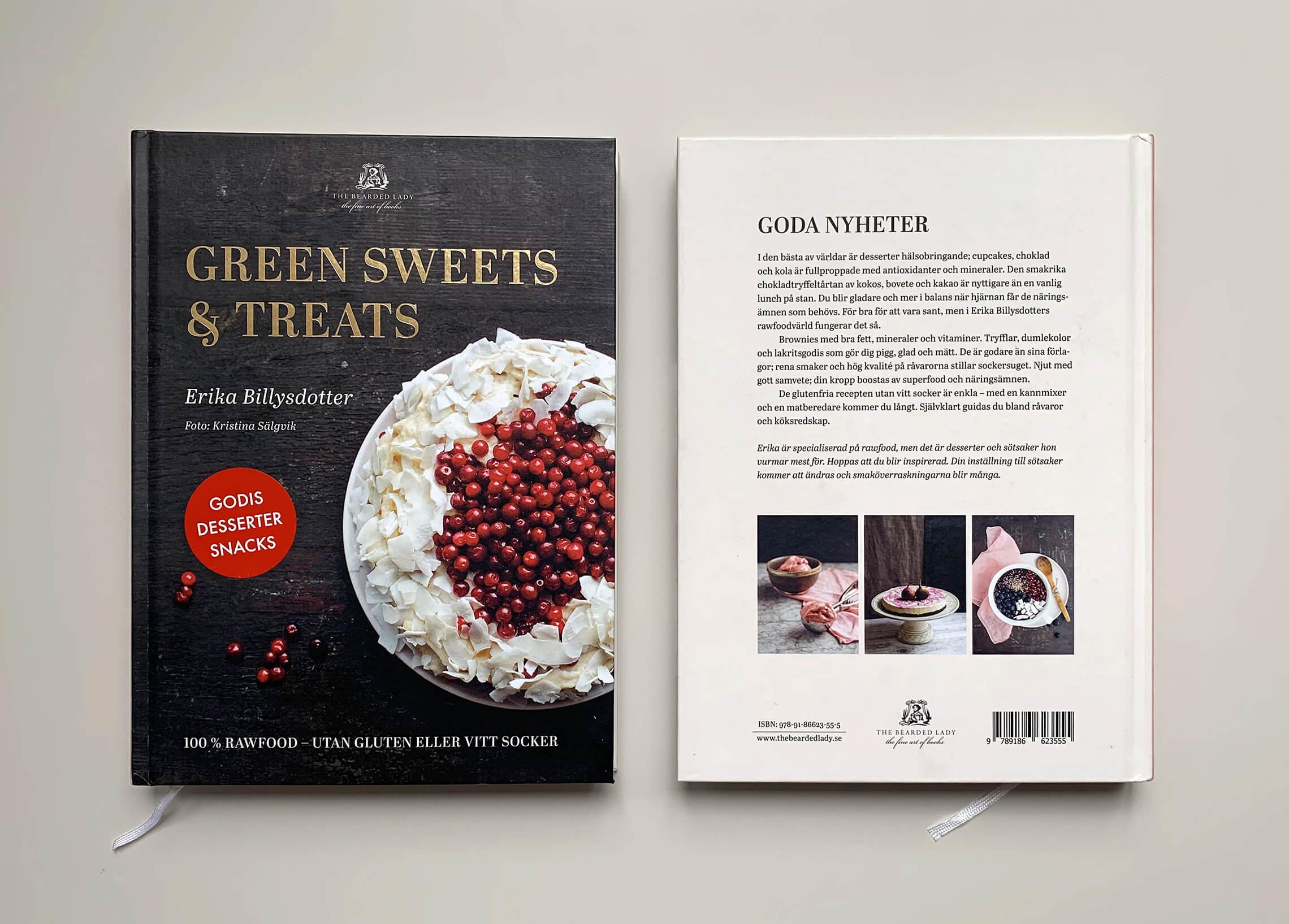 """Bokomslag (framsida och baksida) till """"Green sweets and treats"""""""