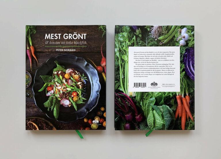 """Bokomslag (framsida och baksida) av """"Mest grönt och konsten att koka bläckfisk"""""""