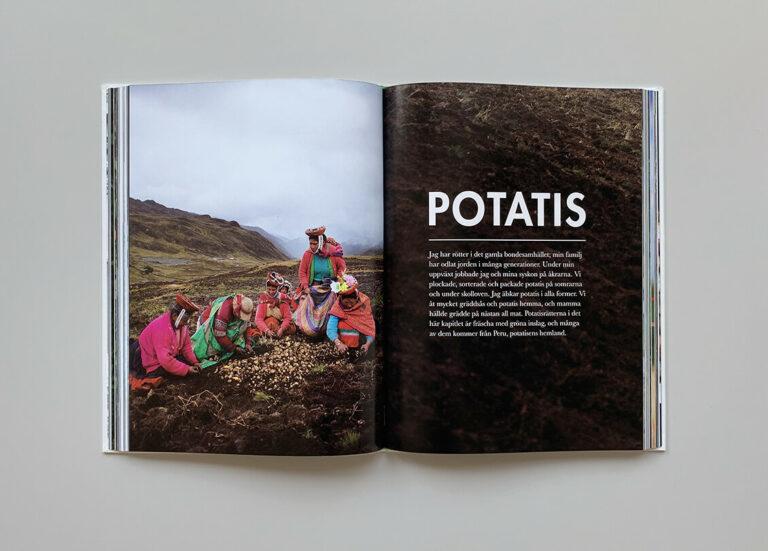 """Kapitelstart med titeln """"Potatis"""" i boken """"Mest grönt och konsten att koka bläckfisk"""""""
