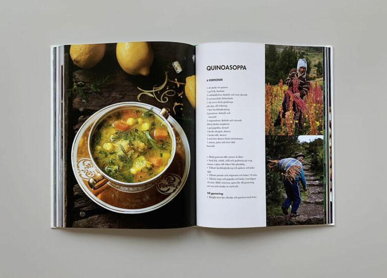 """Uppslag med recept på quinasoppa i boken """"Mest grönt och konsten att koka bläckfisk"""""""