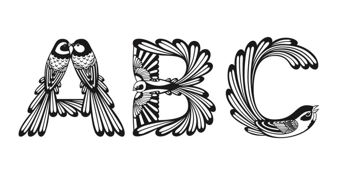 """Bokstäverna a, b och c i alfabetet """"Ornis"""""""