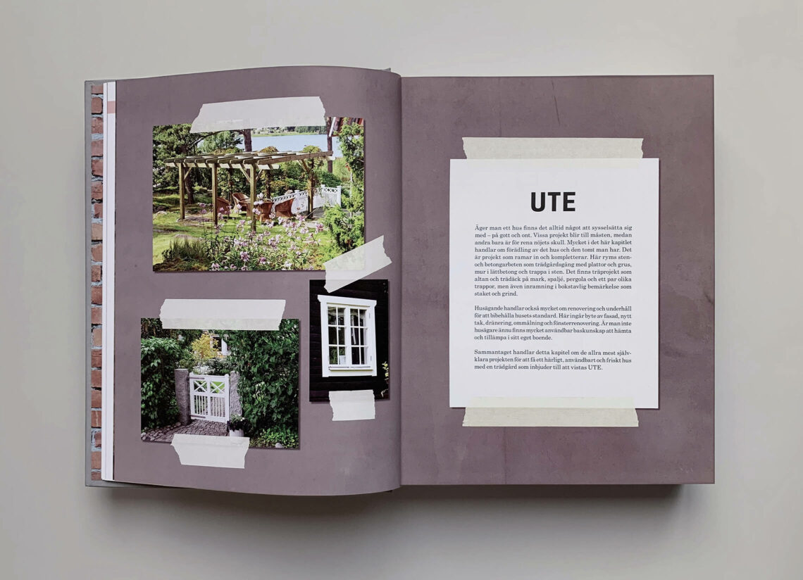 """Uppslag med kapitelstart med titeln """"Ute"""" boken """"Stora boken för hemmfixaren"""""""