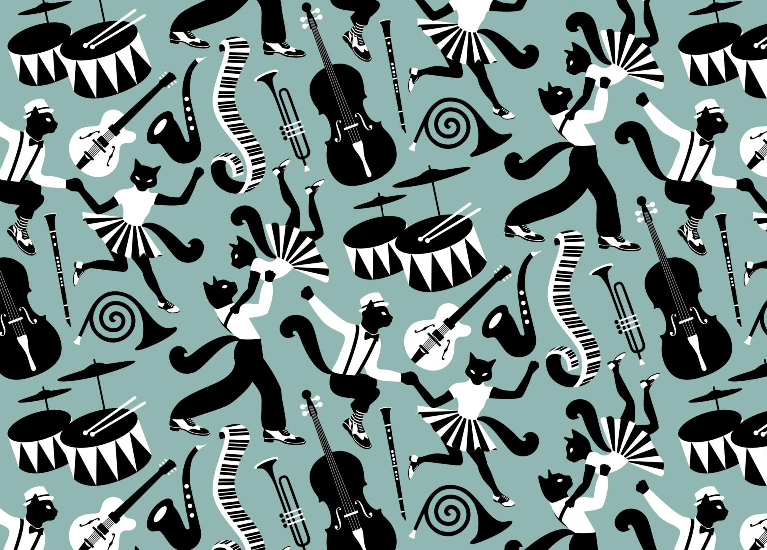 mönster med dansande katter och instrument